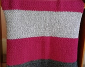 HAND KNIT BLANKET Throw.Raspberry, Charcoal Gray and Silver Gray stripe Blanket Throw. Acrylic Wool Blend. Very Soft and warm, Great Gift.