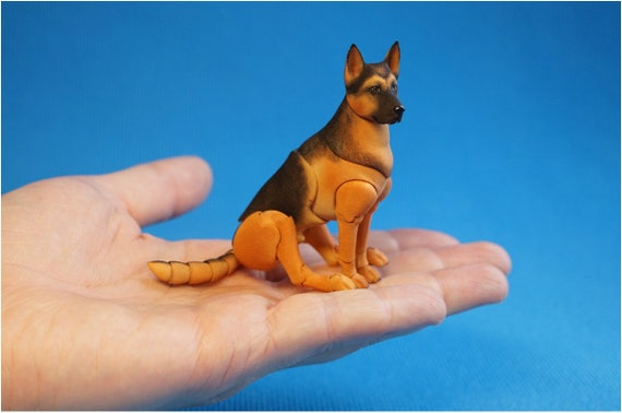 Animal Porcelain German Shepard Gel Embed Miniature