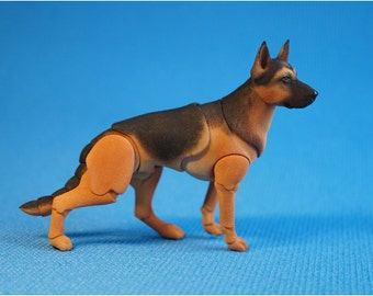 In stock. BJD dog: German shepherd. 5.5 cm at the withers