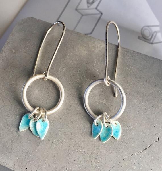 Silver and enamel tassel earrings, Turquoise enamel earrings,  drop earrings, charm earrings