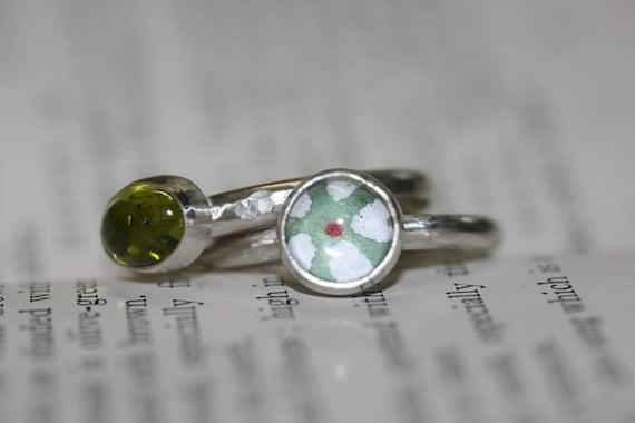 Silver stacking rings, Peridot ring, bezel set ring, sterling silver rings