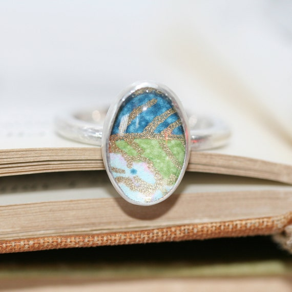 Oval cabochon ring, silver ring, ring with bezel setting, Coloured chiyogami paper, patterned ring, paper  under glass