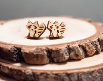 Laser Cut Cute Raccoon Wood Earrings | animal earrings | Unisex earrings