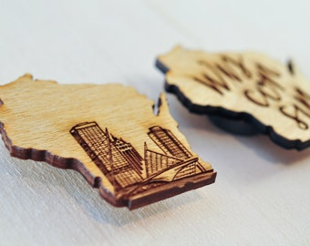 WI State Pride Magnets    Milwaukee, Wisconsin souvenirs   Little wood etch magnets