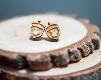 Laser Cut In a Nutshell Wood Earrings | Unisex earrings