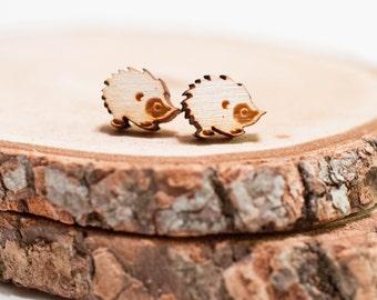 Laser Cut Hedgehog porcupine Wood Earrings | animal earrings | Unisex earrings