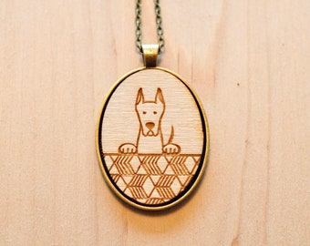Lasercut Great Dane Wood necklaces | dog necklace | wood jewelry