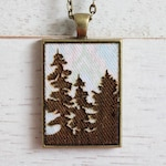 Forest Necklace - Forest Silhouette Pendant - Fabric Necklace - Wood Pendant Necklace - Laser Engraved Necklace - Rectangle Necklace