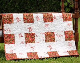 Red White Buffalo Check Small Christmas Quilt, reindeer and holly wall hanging, baby quilt, gold green throw, holiday home decor, winter