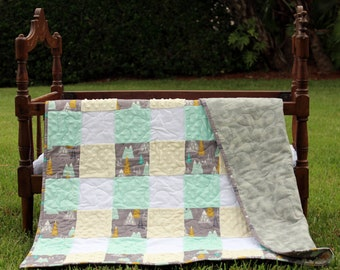 Woodland baby quilt, woodsy baby boys quilt, gray mountains baby quilt, green cream minky, flannel baby blanket, heirloom gift for baby boy