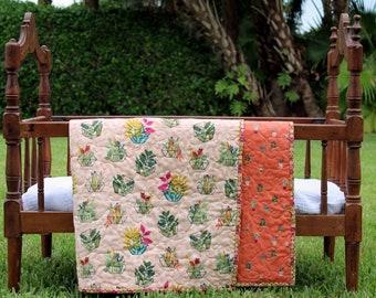 Boho Leafy Plants Baby Girl Quilt, pink orange wholecloth baby girls quilt, green garden blanket, whole cloth quilt, nursery crib bedding