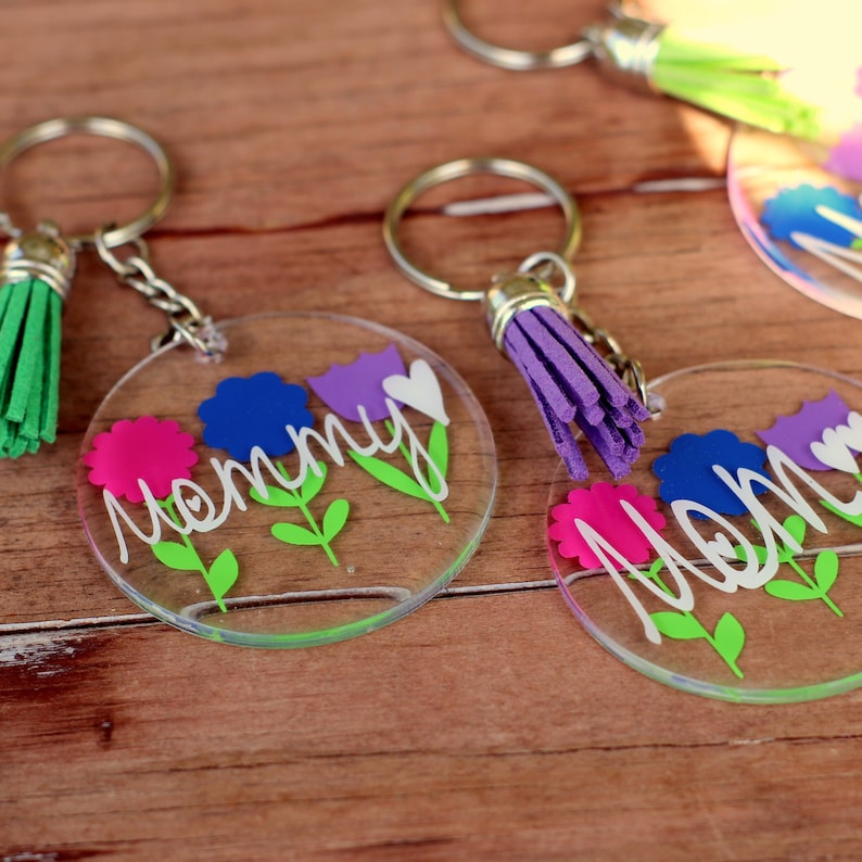 suncatcher easter basket gift gift for mom custom key chain mother/'s day gift gift for girlfriend Personalized floral round keychain