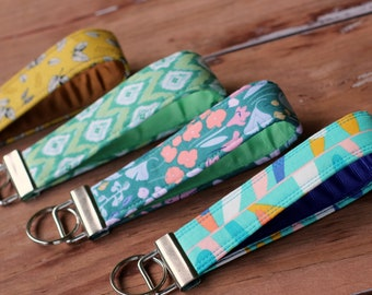 Modern Wristlet Cotton Keychains, choice of ikat, leaf, floral, modern retro, cotton key holder, fun key fob, gift for her, new student gift