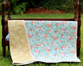 Baby girls floral quilt,  whole cloth infants blanket, blue yellow pink flowers on baby quilt, baby shower gift, new baby gift, handcrafted
