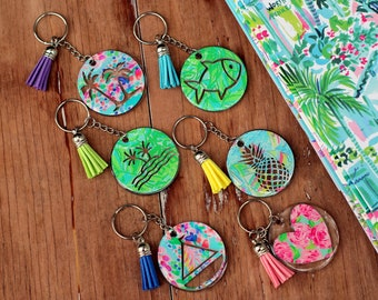 LP Inspired Key Chains, tropical key chains with tassel, pineapple key ring, sailboat keychain, palm tree key chains, heart, fish key chain