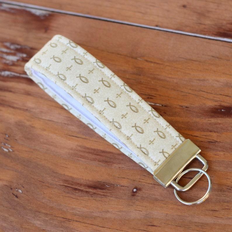 Wristlet Key Fob cross gift fish keychain Christian gift image 0