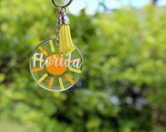 Florida Sunshine key chain, Florida acrylic round key chain, resin coated, souvenir, sun keychain yellow gold orange key chain, gift for her