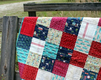 Boys Baby Quilt, boys surf beach quilt, tropical baby blanket, quilt for baby boy, infant bedding, toddler bedding, red blue baby blanket