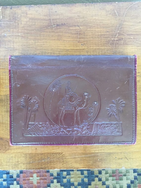 1950s egyptian tooled leather clutch