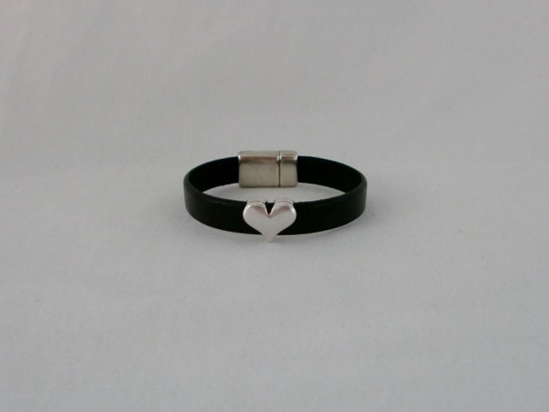 Black Leather Cuff with Silver Heart Slider Last one!