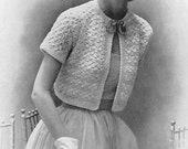 CROCHET PATTERN Vintage 1950s Shell Stitch Bolero Jacket Shortie Instant Download PDF
