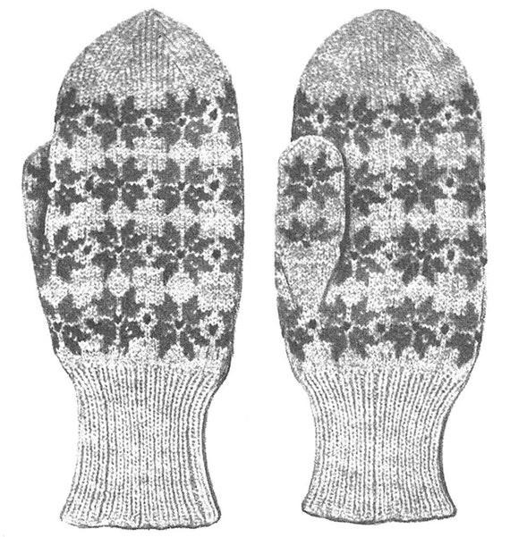 Knitting Pattern Vintage Fair Isle Star Snowflake Mittens Etsy
