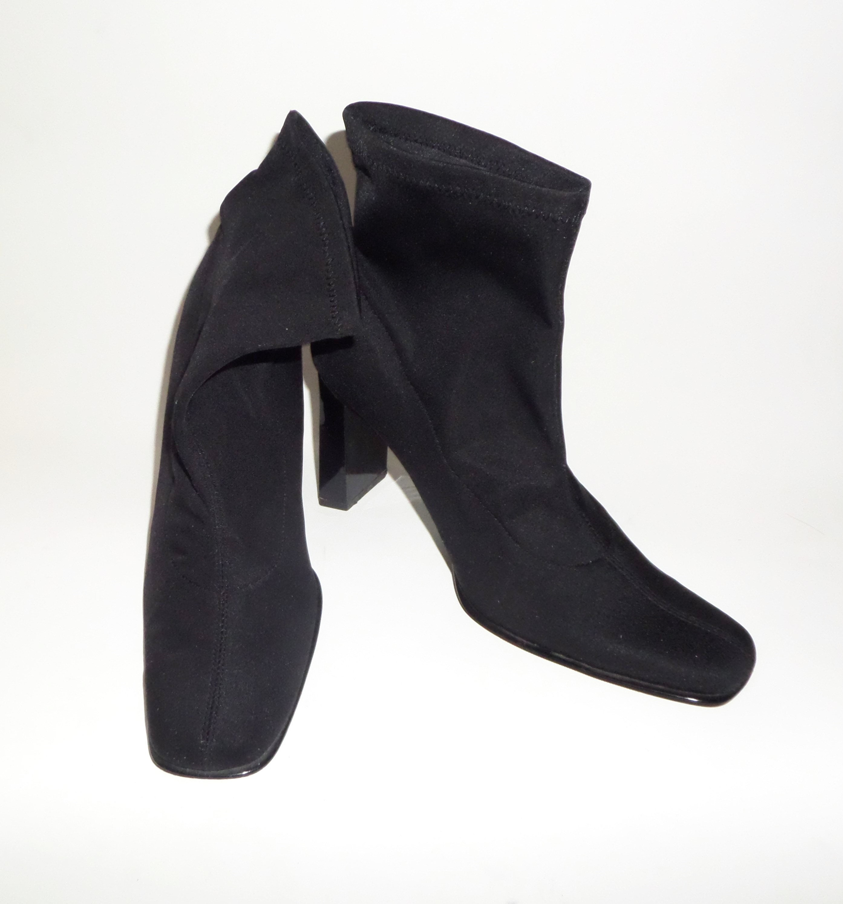 8ffa308b191d0 1990's Vintage VTG Newport News Black Stretch Fabric Square Toe Booties  Boots Shoes 7.5M