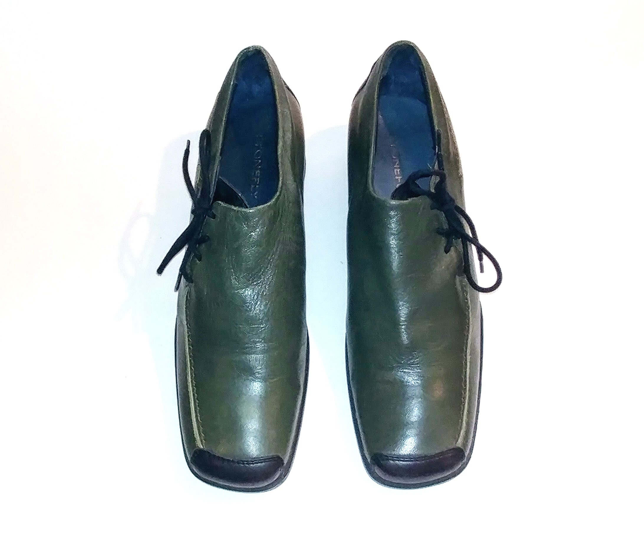 acb4c78150f10 1990's Vintage VTG Stonefly Green Black Genuine Leather Oxford Shoes 9.5/40