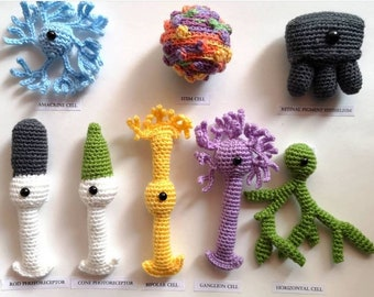 Crocheted Retinal Neurons,science,gift for scientists,science crochet, Amigurumi, neurons,crocheted neurons, neuroscience