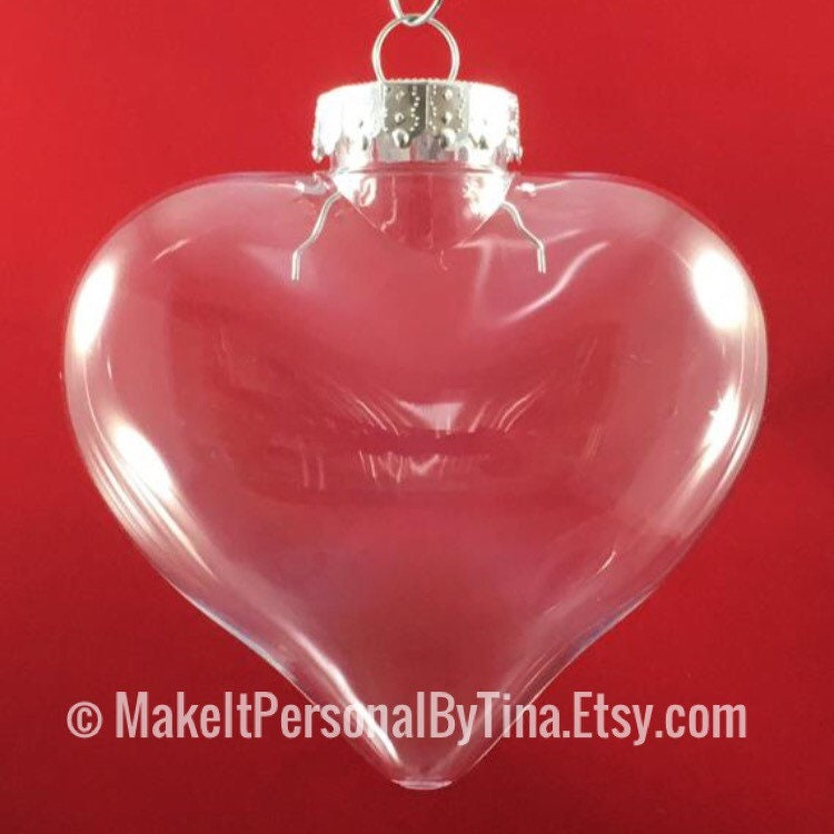 qty of 10 100mm clear plastic heart shaped christmas ornaments