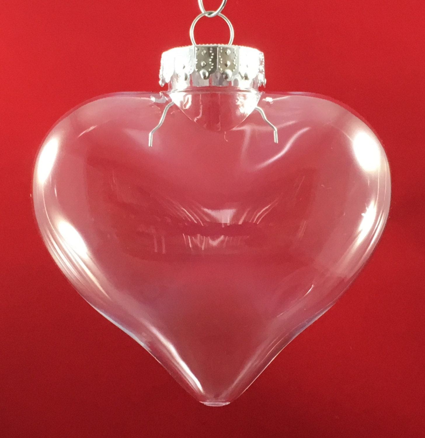Pack of 10 100mm Clear Plastic Heart Shaped Christmas