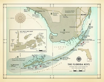 Map Of Florida Keys.Florida Keys Map Etsy