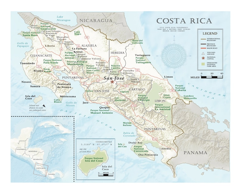 Costa Rica 11x14 Road Map | Etsy