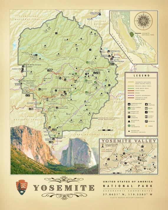 Yosemite National Park 11 X 14 Area Map Etsy