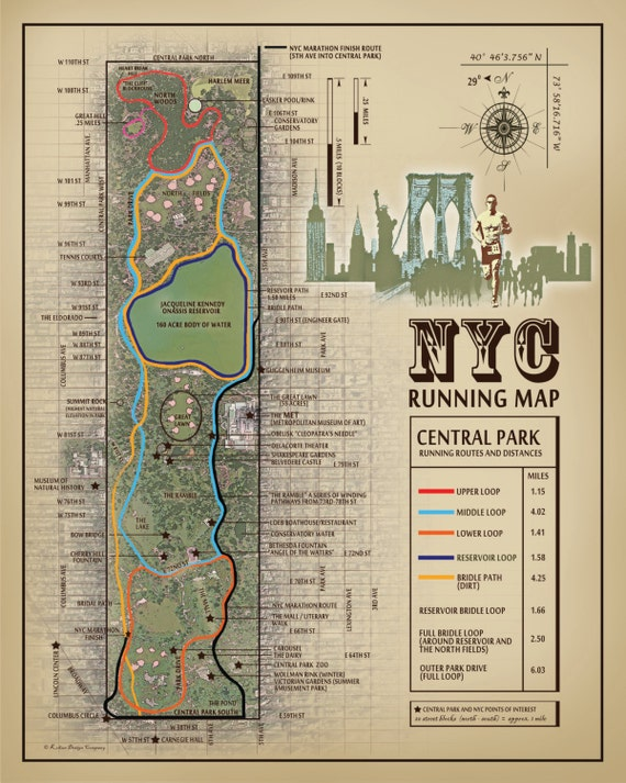 NYC Central Park 11x14 running route map vintage