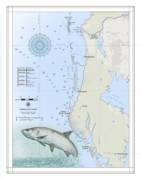 Florida Gulf Coast Map.Florida S Gulf Coast Nautical Map Etsy