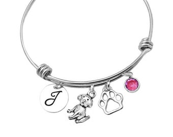 Dog Initial Birthstone Bracelet Bangle, Doggy Pet Loss, Puppy Bangle, Must Love Dogs, Puppy Jewelry
