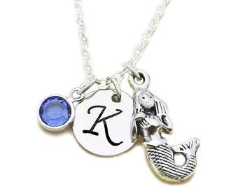 Mermaid Initial Birthstone Necklace, Goddess Pendent, Mermaid Charm Necklace, Nymphet Spirit Fairy Jewelry with Swarovski Crystal Birthstone