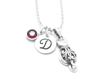 Cat Initial Charm Necklace, Cat Necklace, Kitty Necklace, Gift for Cat Lover, Cat Lover Gift, Cat Initial Birthstone Necklace, Kitten Lover
