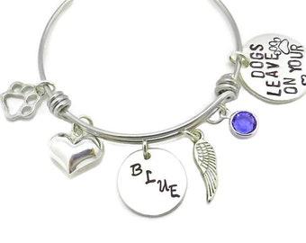Pet Loss Memorial Bracelet Bangle, Dog or Cat Custom Special Animal Rememberance Sympathy Gift,