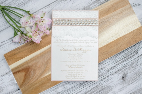 Wedding Invitations Lace And Pearl: Lace & Pearl Invitation Bridal Shower Wedding Invitation