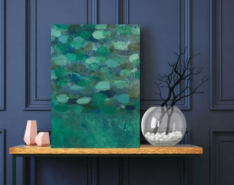 Blue and Green Petals/ Abstract Painting / Contemporary Art / Original Artwork.  Acrylic on Canvas 8 x10
