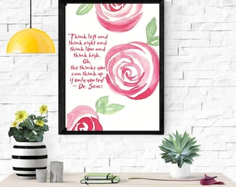 Motivational Wall Art, Dr.Seuss Art Quote, printable art home decor digital inspirational wall decor quote positive printable
