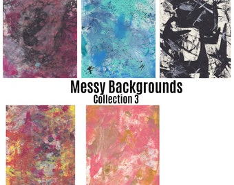 Printable Messy  Painted Backgrounds Collection 3 /Digital Paper/scrapbook paper/Printable Background