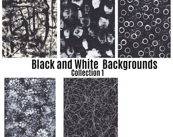 Printable black and white pattern, Black and White Collection 1/ brush marks digital paper, ink patterns, circles, stripes