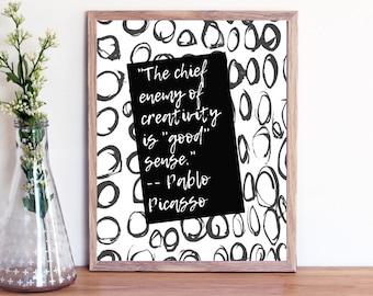 Motivational Wall Art,Pablo Picasso Art Quote, printable art home decor digital inspirational wall decor quote positive printable,