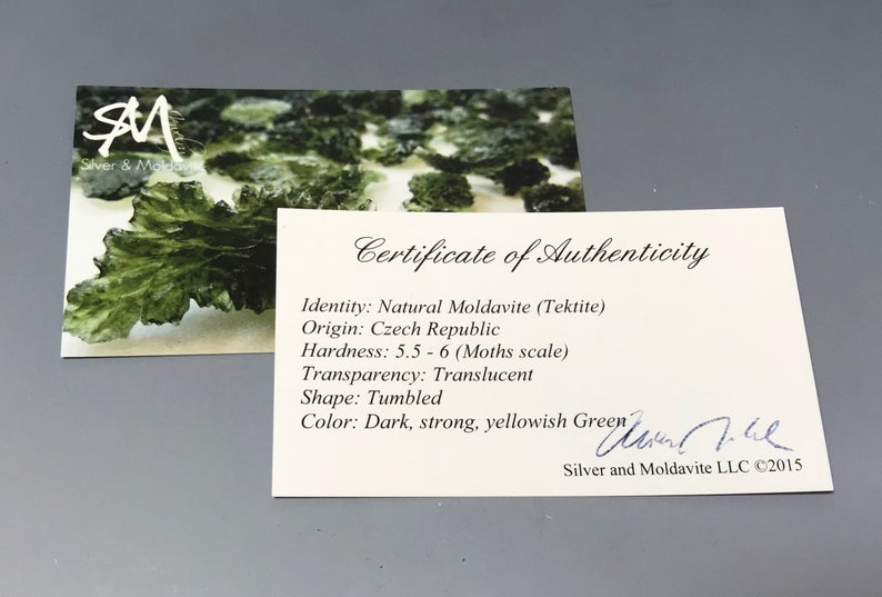 Powerful Czech Tumbled Moldavite Beads certificate of authenticity 25 pieces