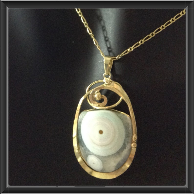 Jasper pendant wrapped in gold platted copper