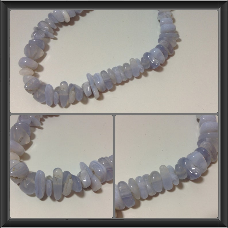 Blue Chalcedony beads 7 to 14mm long