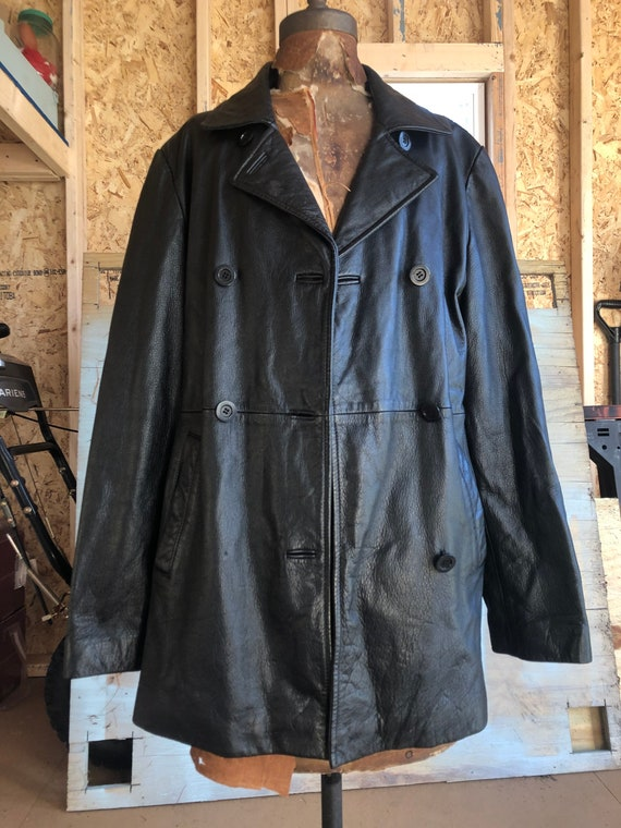 Vintage Women's Black Leather Jacket Guess 1990s G